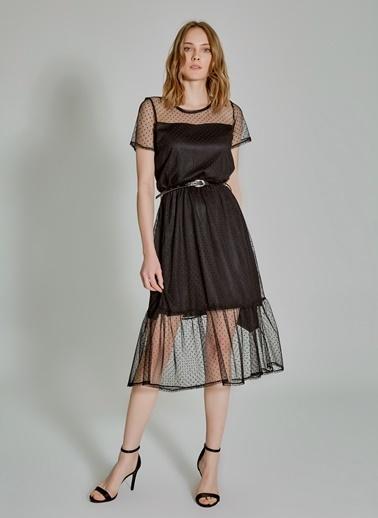 People By Fabrika Kemerli Tül Elbise Siyah